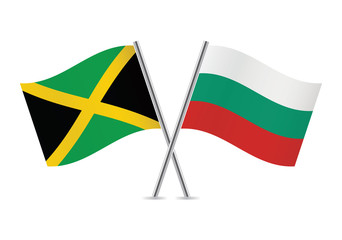 Bulgarian and Jamaican flags. Vector illustration.
