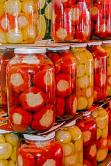 Big jars with assortment of home pickles