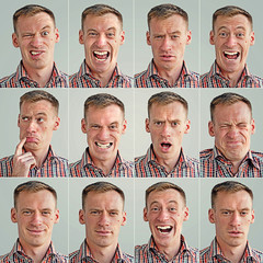 montage photo of a young man with some facial expressions