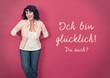 canvas print picture - glückliche Frau an einer Wand-pink board 03
