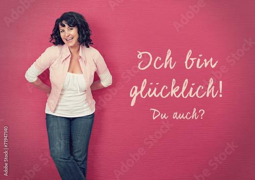 canvas print picture glückliche Frau an einer Wand-pink board 03