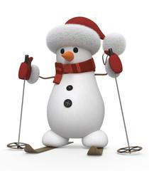 3d snowman on skis