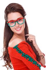 Beautiful woman in red sweater