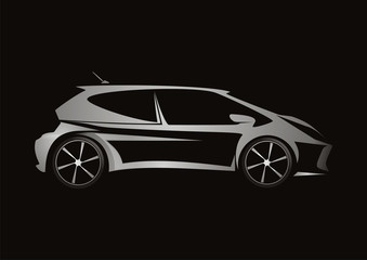 modern car automotive silver design vector