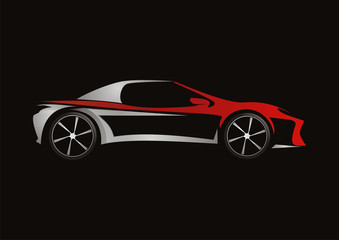 modern car automotive red design vector