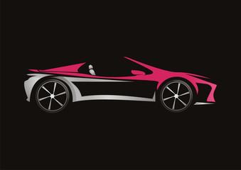 modern car automotive pink design vector