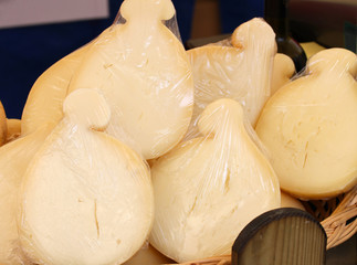 Italian provolone cheese on sale at the market