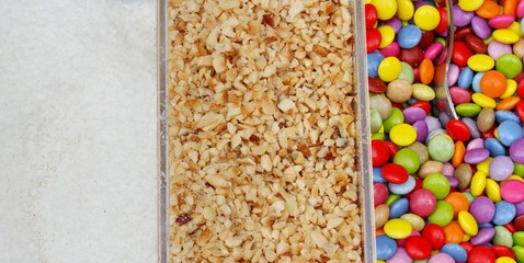 Candy and chocolate colored confetti coconut peanuts