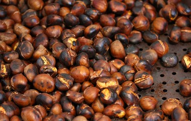 hot roasted chestnuts cooked on the hot plate