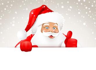 Verschneiter Weihnachtsmann hinter Board - Daumen hoch