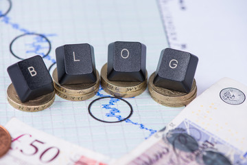 Financial blog header over graph