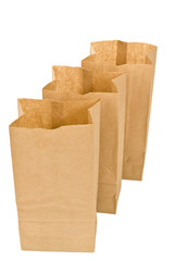 Three Brown Lunch Bags Standing Open
