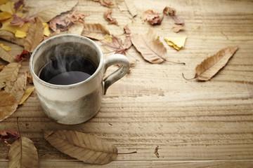 枯れ葉とコーヒー