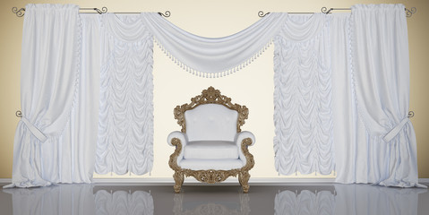 classic interior with chair and curtains