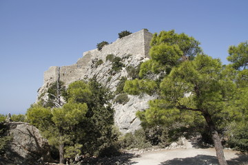 nice view on monolithos castle in rhodes greece