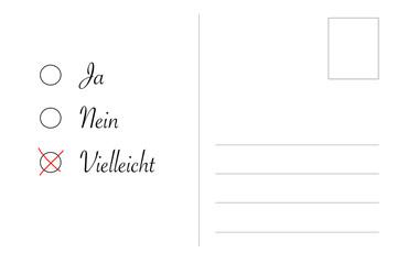 postkarte mit Ja - Nein - Vielleicht, keine Entscheidung
