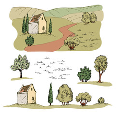 Village Clip Art. Vector hand drawn trees, hills and house.