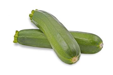 Zwei reife Zucchinis auf weißem Hintergrund