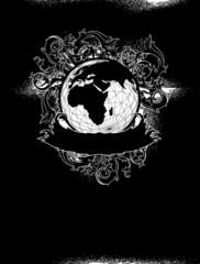 earth globe decorative art label