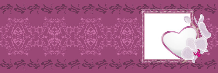 Ornamental purple border with heart to the Valentines day