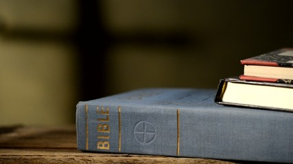 bible with books in the church,locked down
