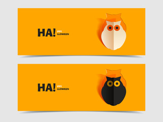 Set of two vector banners with owl cut out