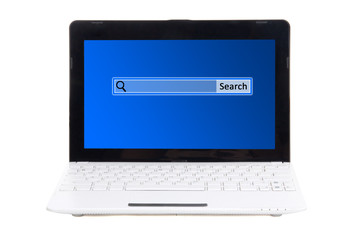 little laptop with search bar on screen isolated on white