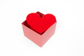 Red heart in red  box