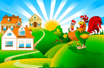 Rooster and hen on a farm