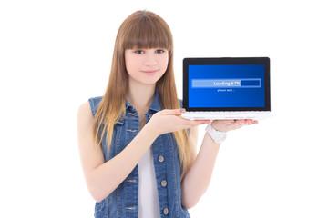 cute teenage girl downloading something from internet using lapt