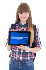 teenage girl holding tablet pc with loading screen isolated on w