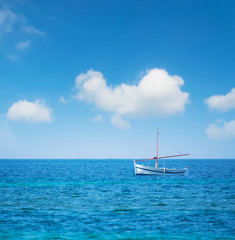boat in the blue sea