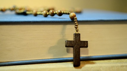 bible and rosary,rotation,panning,real time