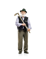 Old man with hoe isolated
