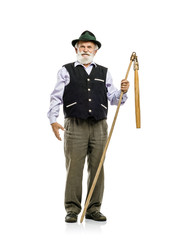 Old man with flail isolated