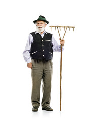Old man with rake isolated