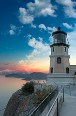 Split Rock Lighthouse Sunset with Moon