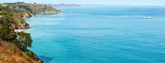 Spring Atlantic Ocean coastline landscape (France)