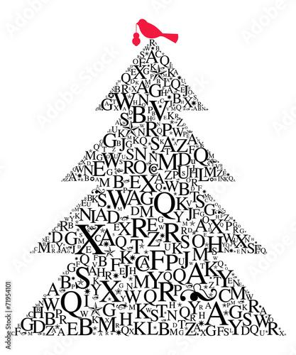 canvas print picture Weihnachtsbaum Typografie