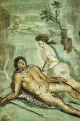 Italy, Pompei, roman fresco in a roman house (79 A.D.)
