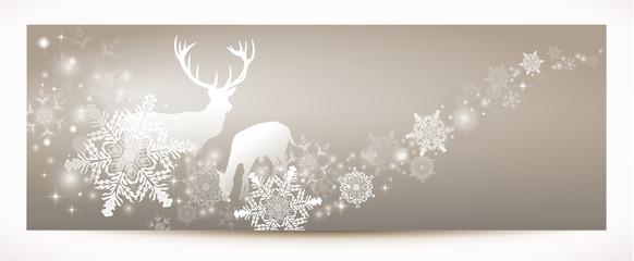 Rentier mit Schnee und Eiskristallen - Banner