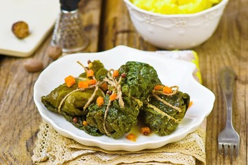 cabbage rolls  from a Savoy cabbage with a salmon
