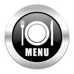 menu black circle glossy chrome icon isolated
