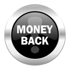 money back black circle glossy chrome icon isolated