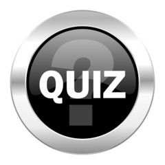 quiz black circle glossy chrome icon isolated