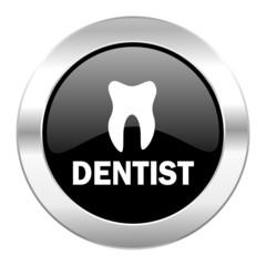 dentist black circle glossy chrome icon isolated