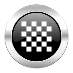 chess black circle glossy chrome icon isolated