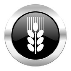 grain black circle glossy chrome icon isolated