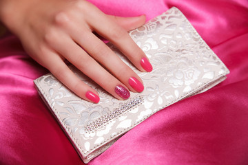 Portrait of manicured and painted fashion nails