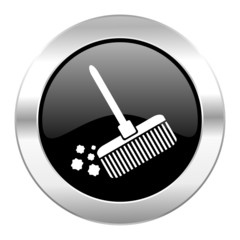 broom black circle glossy chrome icon isolated